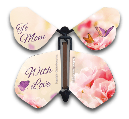Mother's Day Wind Up Flying Butterfly For Greeting Cards by Butterflyers.com