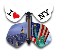 I Love New York Wind Up Flying Butterfly For Greeting Cards by Butterflyers.com