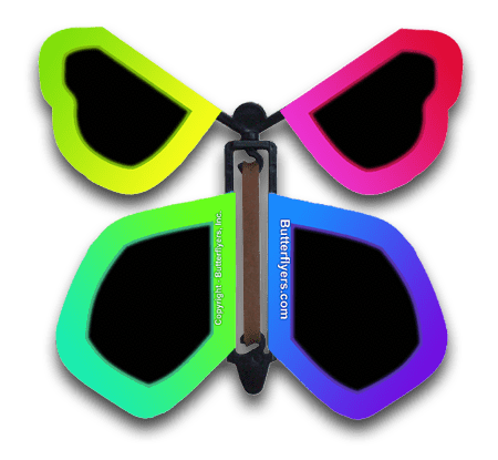 Neon Spectrum Wind Up Flying Butterfly For Greeting Cards by Butterflyers.com