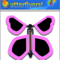 Neon Magenta Wind Up Flying Butterfly For Greeting Cards by Butterflyers.com