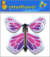 Metallic Platinum Wind Up Flying Butterfly For Greeting Cards by Butterflyers.com