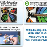Instruction card for wind up flying butterfly from butterflyers.com