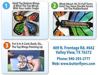 Instructions for wind up flying butterfly from butterflyers.com