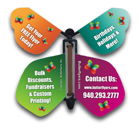 Custom Printed Wind Up Flying Butterfly For Greeting Cards or Promotions from Butterflyers.com