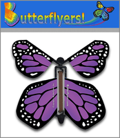 Purple Monarch Wind Up Flying Butterfly For Greeting Cards by Butterflyers.com