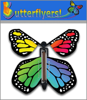 Rainbow Monarch Wind Up Flying Butterfly For Greeting Cards by Butterflyers.com