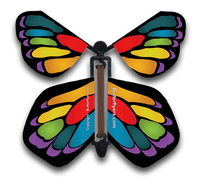 Stained Glass Rainbow Flying Butterfly