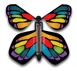 Stained Glass Rainbow Wind Up Flying Butterfly For Greeting Cards by Butterflyers.com
