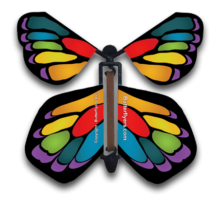 Stained Glass Rainbow Wind Up Flying Butterfly