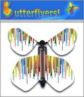 Raining Rainbows Wind Up Flying Butterfly For Greeting Cards by Butterflyers.com