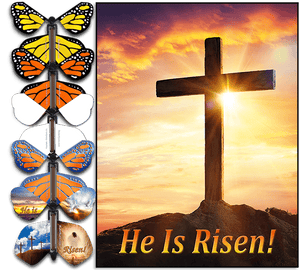 He Is Risen Easter Card With Flying Butterfly