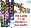 Roller Coaster greeting card with wind up flying butterfly from Butterflyers.com