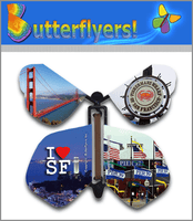 I Love SF Wind Up Flying Butterfly For Greeting Cards by Butterflyers.com