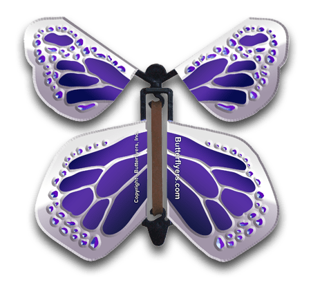 Purple Silver Wind Up Flying Butterfly For Greeting Cards by Butterflyers.com