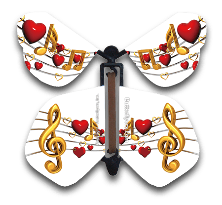 Heart Sing Wind Up Flying Butterfly