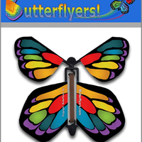 Stained Glass Monarch Wind Up Flying Butterfly For Greeting Cards by Butterflyers.com