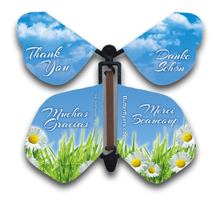 Thank You Wind Up Flying Butterfly For Greeting Cards by Butterflyers.com