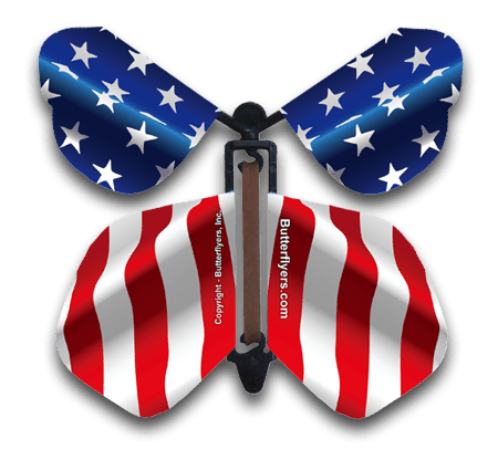 USA Flag Wind Up Flying Butterfly For Greeting Cards by Butterflyers.com