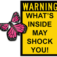 Warning Greeting Card with Pink monarch wind up flying butterfly from butterflyers.com