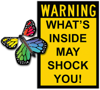 Warning Greeting Card with Rainbow monarch wind up flying butterfly from butterflyers.com