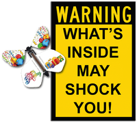 Warning Greeting Card with happy birthday wind up flying butterfly from butterflyers.com