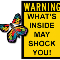 Warning Greeting Card with Stained Glass monarch wind up flying butterfly from butterflyers.com