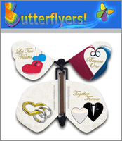 Wedding Hearts Wind Up Flying Butterfly For Greeting Cards by Butterflyers.com