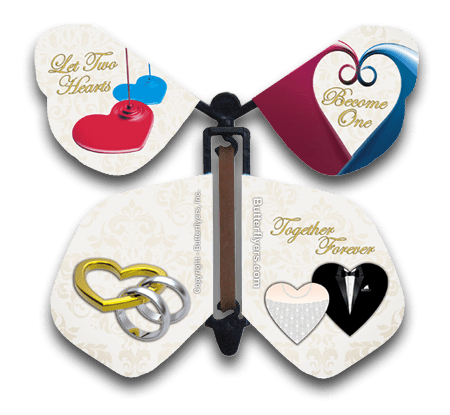 Wedding Hearts Wind Up Flying Butterfly