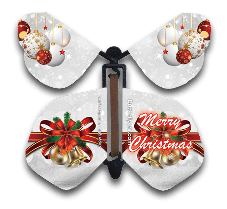 Christmas Bows & Bells Wind Up Flying Butterfly For Greeting Cards by Butterflyers.com