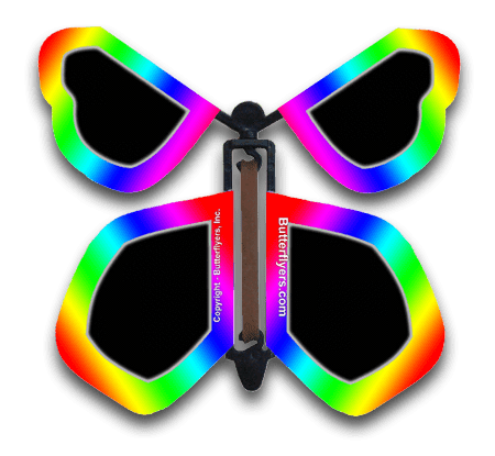 Neon Rainbow Wind Up Flying Butterfly For Greeting Cards by Butterflyers.com