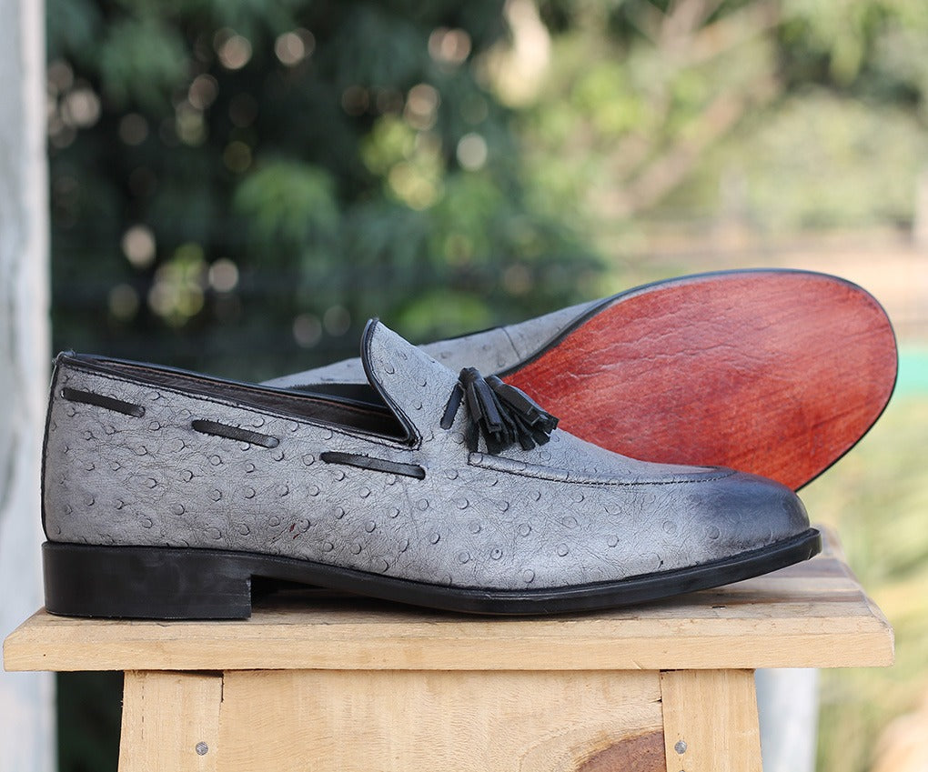 Bespoke Gray Ostrich Leather Tussle Loafer  Shoe for Men - leathersguru
