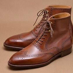 Handmade Brown Leather Wing Tip Boot - leathersguru