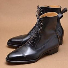 Load image into Gallery viewer, Bespoke Cap Toe Leather lace Up Black Boot - leathersguru