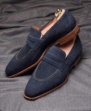 Men's Suede Penny Loafers Navy Blue Slip On Moccasin Shoes - leathersguru