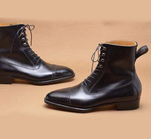 Bespoke Cap Toe Black Leather Lace Up Boot - leathersguru
