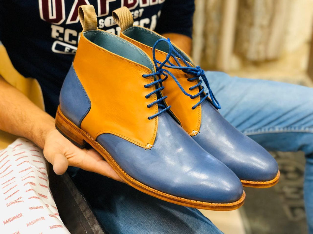 Handmade Tan & Blue Half Ankle Leather Boots - leathersguru