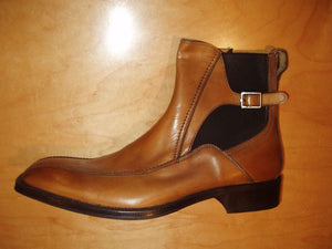 Bespoke Tan Chelsea Leather Buckle Boot - leathersguru