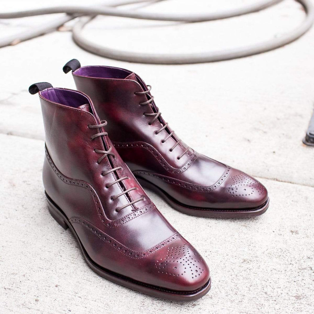 Handmade Brogue Toe Burgundy Lace Up Boot - leathersguru