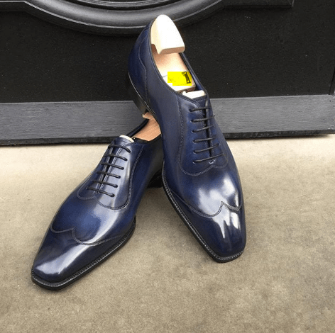 Handmade Blue Leather Wing Tip Shoe - leathersguru