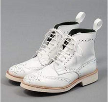 Load image into Gallery viewer, White Leather Wing Tip Brogue Boots - leathersguru