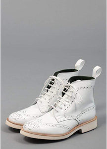 White Leather Wing Tip Brogue Boots - leathersguru