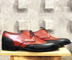 Bespoke Tan Black  Leather Lace Up Wing Tip Shoes for Men's - leathersguru