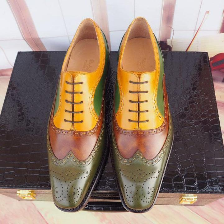 Handmade Multi Color Leather Wing Tip Brogue Shoes - leathersguru