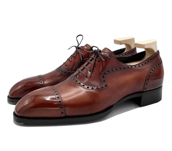 Handmade Brown Cap Toe Leather Shoe - leathersguru