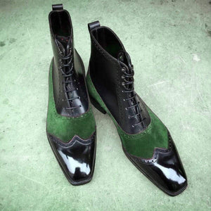 Handmade Black Green Leather Suede Wing Tip Boot - leathersguru
