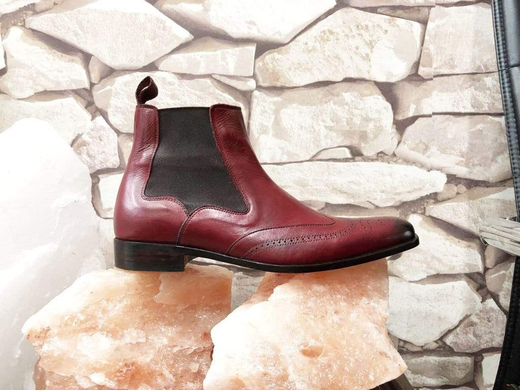 Handmade Men's Ankle High Brown Leather Wing Tip Chelsea Boot - leathersguru