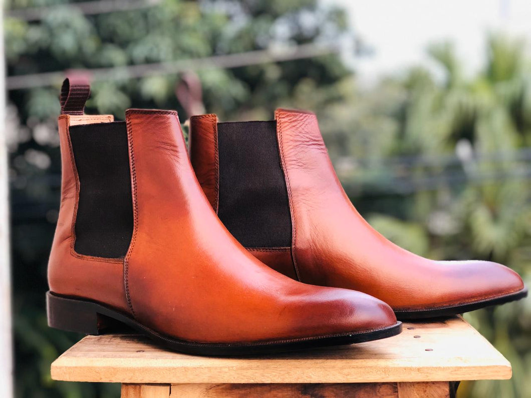 Bespoke Tan Chelsea Simple Leather Boots - leathersguru