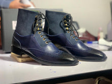 Load image into Gallery viewer, Bespoke Blue Ankle High Leather Suede Wing Tip Lace Up Boot, Men's Fashion Boot