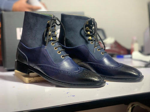 Bespoke Blue Ankle High Leather Suede Wing Tip Lace Up Boot, Men's Fashion Boot