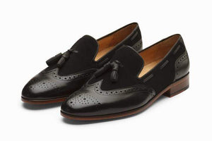 Handmade Black Loafers Suede Leather Shoe - leathersguru